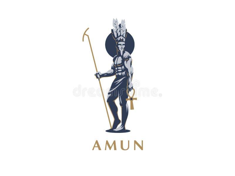 De Egyptische god Amun vector illustratie