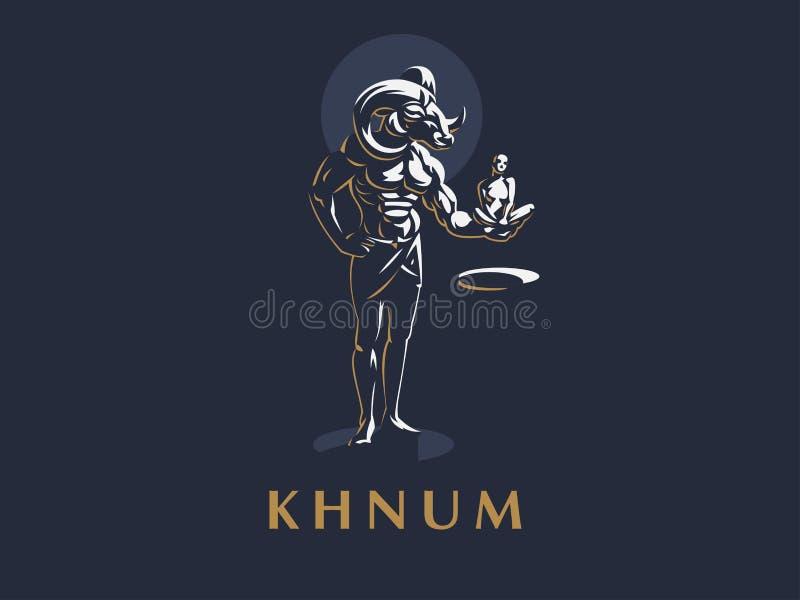 De Egyptische god Khnum royalty-vrije illustratie