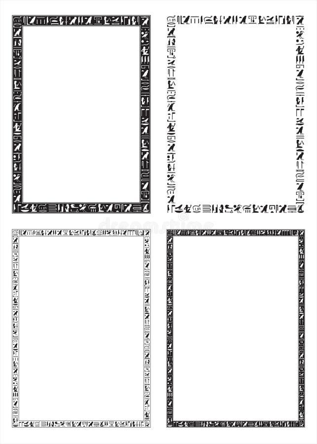 De egyptiska hieroglyfiska dekorativa ramarna vektor illustrationer