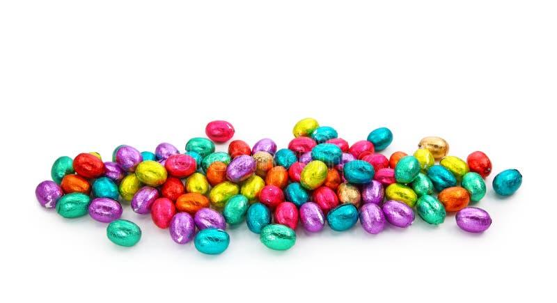 De eieren van de chocolade in folie stock afbeelding