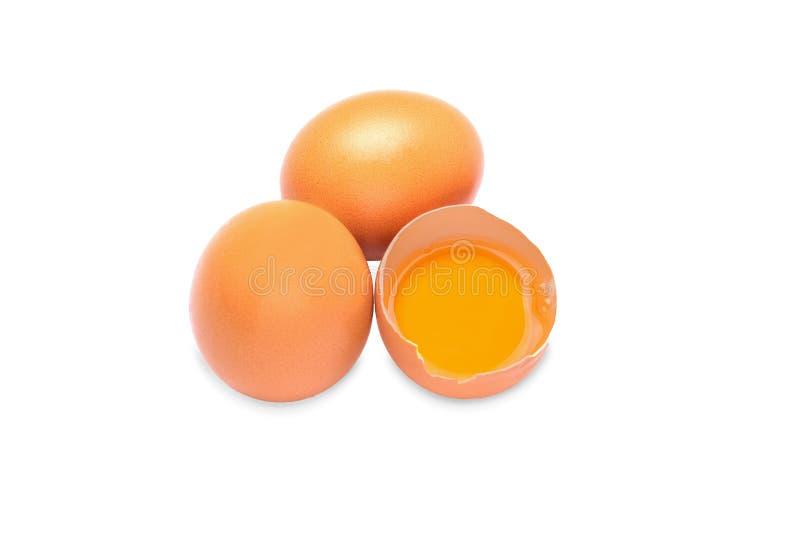 De eieren van de kip op een witte achtergrond De eieren zijn een gezonde productrijken in calcium royalty-vrije stock foto's