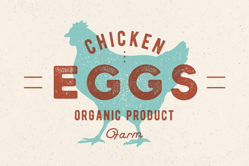 De eieren van de kip Uitstekend hand getrokken embleem royalty-vrije illustratie