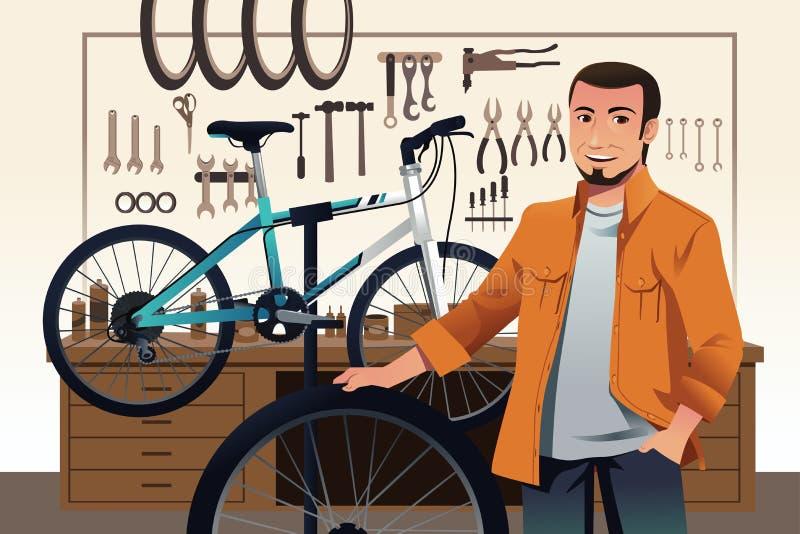 De eigenaar van de fietsopslag in zijn fietsreparatiewerkplaats vector illustratie