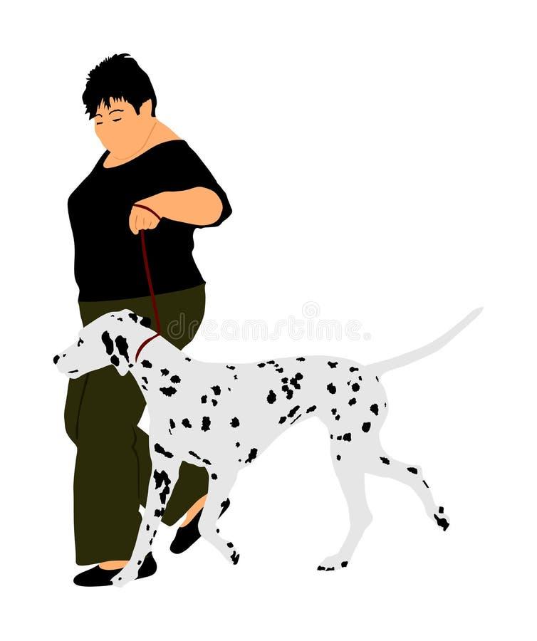 De eigenaarvrouw houdt op de kampioen van de leiband Dalmatische hond op de stadiumvector vector illustratie
