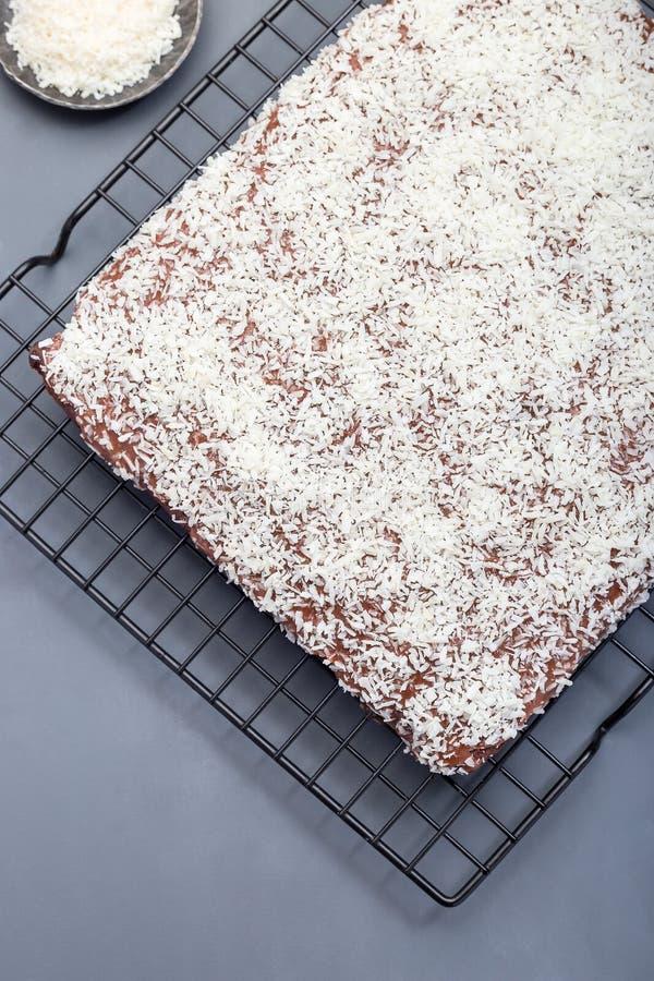 De eigengemaakte brownie met kokosnoot schilfert, Zweedse dessertkarleksmums, bij het koelen van rek, verticaal, hoogste mening a stock fotografie