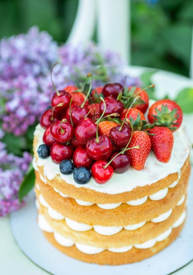 De eigengemaakte cake van het de zomerkoekje met room en verse bessen in de tuin stock afbeelding