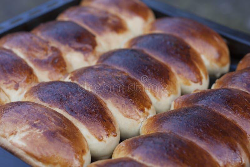 De eigengemaakte deegachtige, Russische pastei gevulde vlakte van gebakjepirozhki legt, hoogste meningsfoto stock afbeeldingen