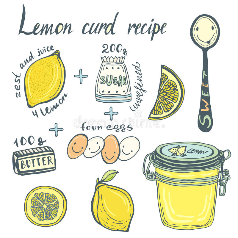 De eigengemaakte pagina van het het receptenboek van de Citroengestremde melk Vector geïllustreerde ingrediënten en kruik stock illustratie