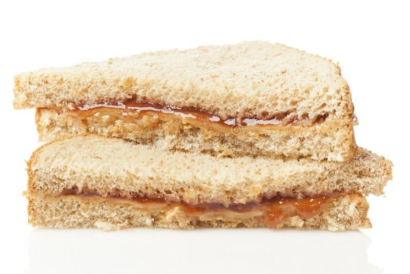 De eigengemaakte Sandwich van de Pindakaas en van de Gelei royalty-vrije stock afbeelding