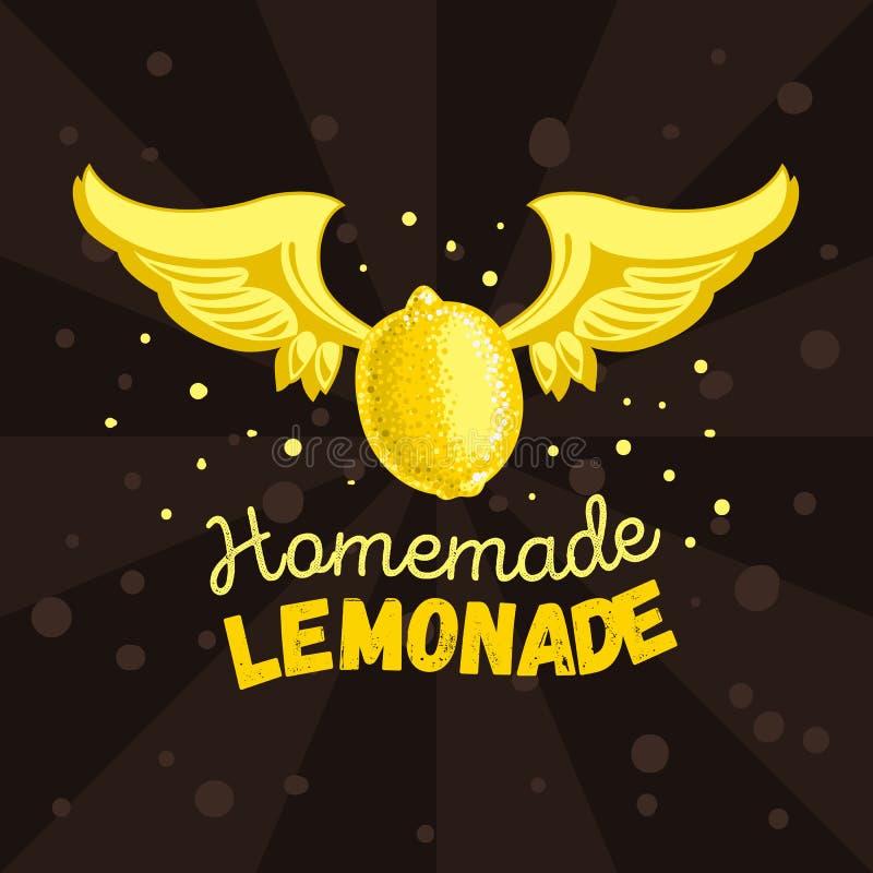 De eigengemaakte Vliegende Citroen van Limonade Conceptuele Logo Label Print Design With met Vleugels in de Luchtillustratie Vect vector illustratie