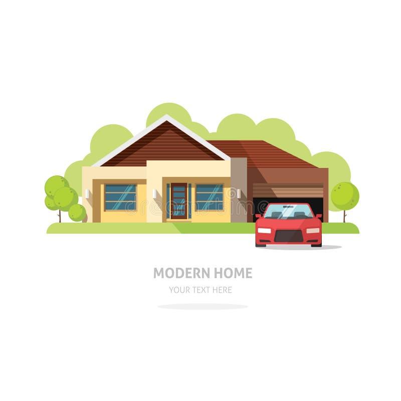 De eigentijdse moderne vlakke stijl van de huisvoorgevel royalty-vrije illustratie