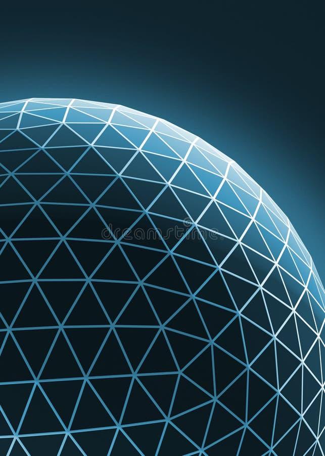 De eigentijdse techno blauwe modieuze asymmetrische bouw, vat dimensionaal voorwerp met verbonden lijnen en punten samen stock foto's