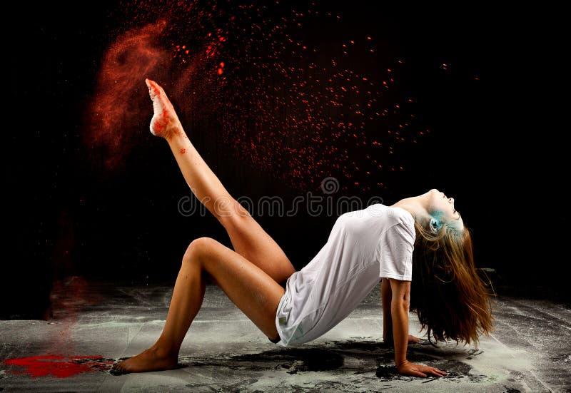 De eigentijdse uitdrukking van het balletpoeder stock foto