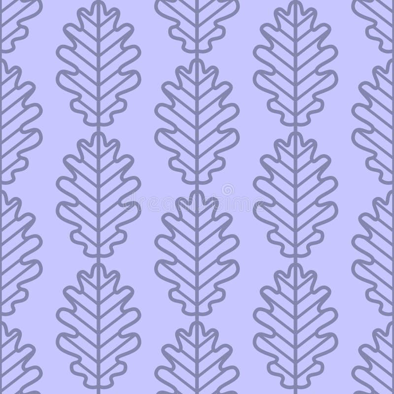 De eik verlaat naadloos vectorpatroon Uitstekende stijl en kleuren (blauw-purple) stock illustratie