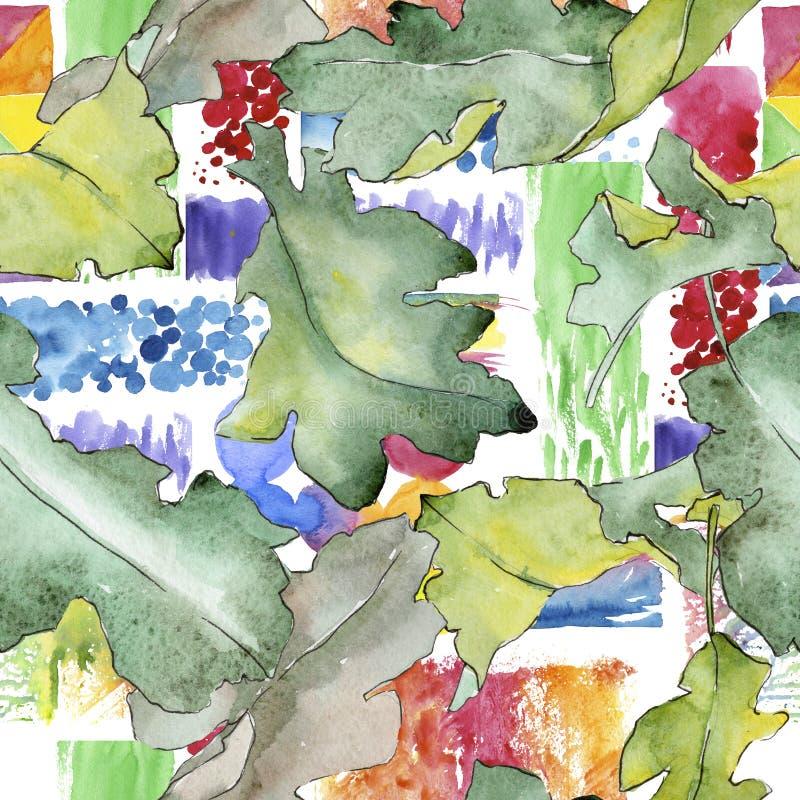 De eik verlaat patroon in een waterverfstijl stock illustratie