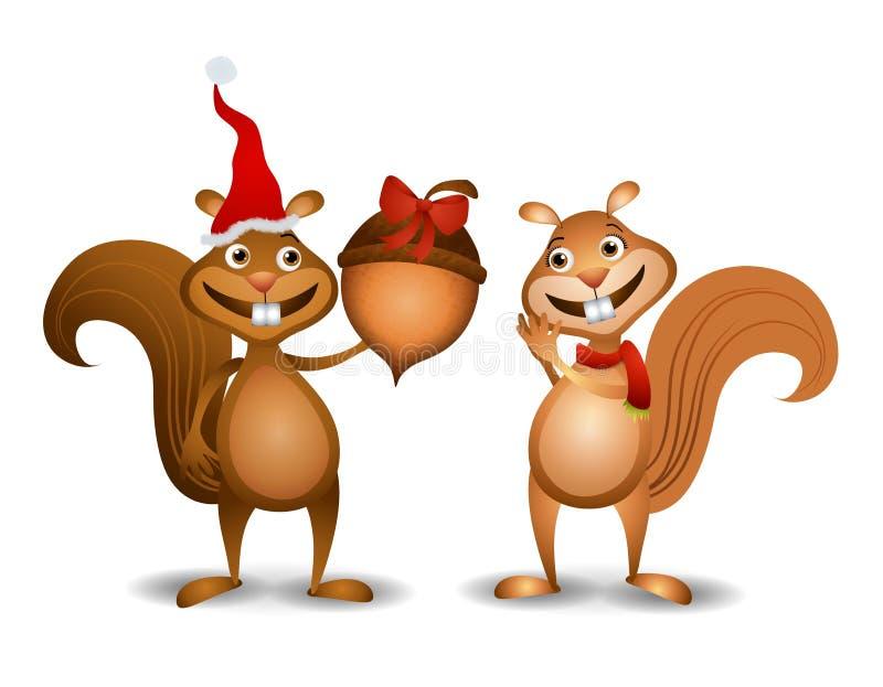 De Eikel van de Eekhoorns van Kerstmis royalty-vrije illustratie