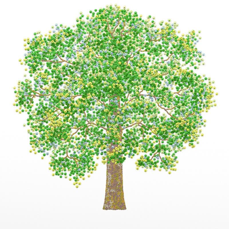 De eiken boom op de witte achtergrond De illustratie kan als embleem en behang worden gebruikt stock illustratie
