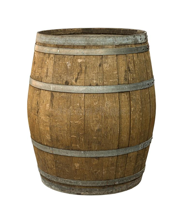 De eiken oude van de de hoepels grijze doorstane oude wijn van het vatstaal smaakstof van madera op wit isoleerde achtergrond stock afbeelding