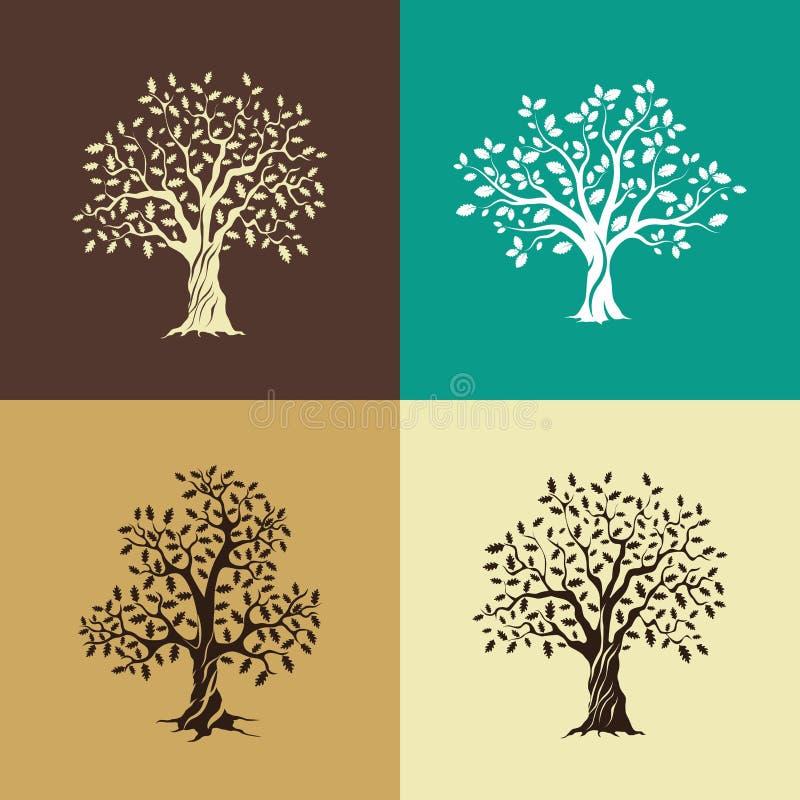 De eiken reeks van het bomensilhouet royalty-vrije illustratie