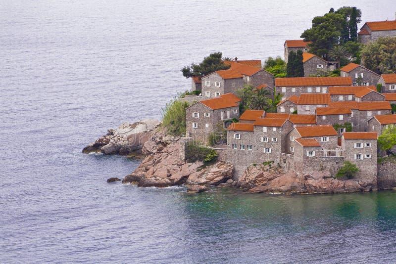 De eiland-toevlucht van Stefan van Sveti, Montenegro royalty-vrije stock afbeeldingen