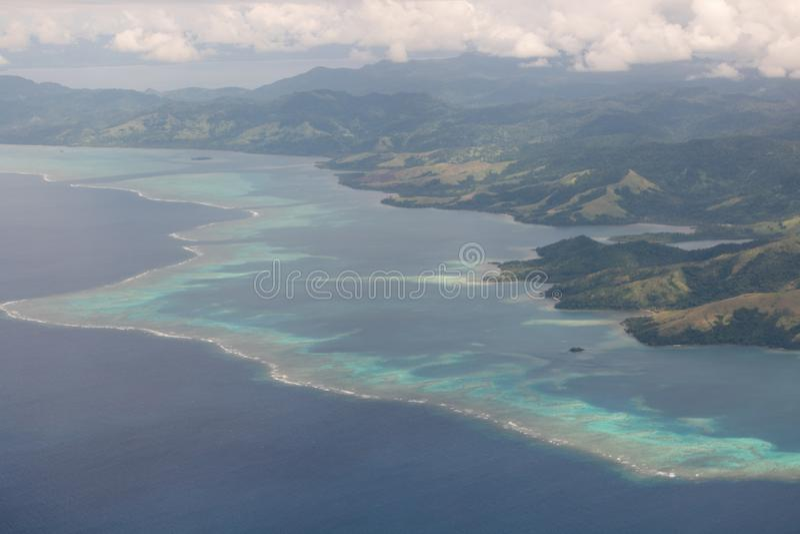 De Eilanden van Fiji van boven Luchtmening Vanua Levu royalty-vrije stock fotografie