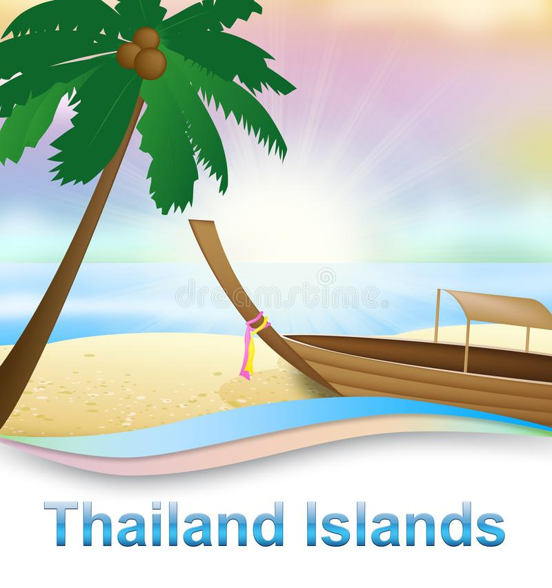 De Eilanden van Thailand betekent Thaise Eiland 3d Illustratie stock illustratie