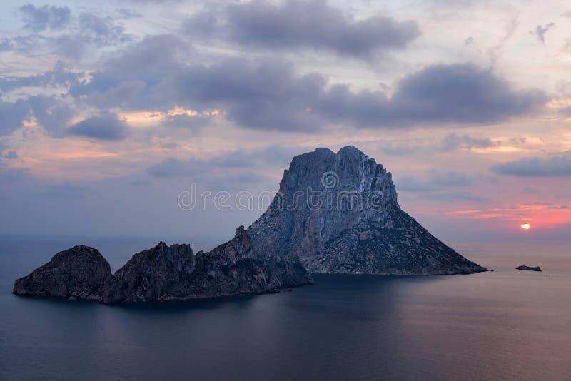 De eilandjes van S Vedra en S Vedranell - Ibiza stock afbeelding