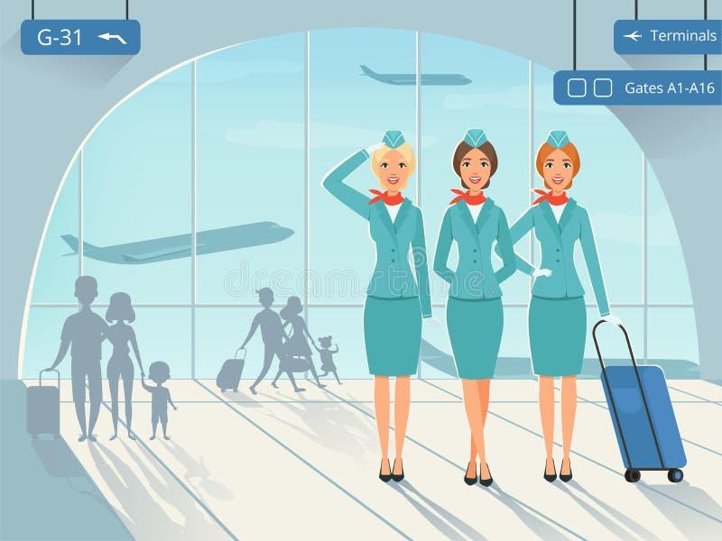 De eindbouw Vectorbeeld als achtergrond met stewardess in luchthaven royalty-vrije illustratie