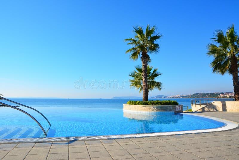 De eindeloze palm van zwembadnd stock foto's