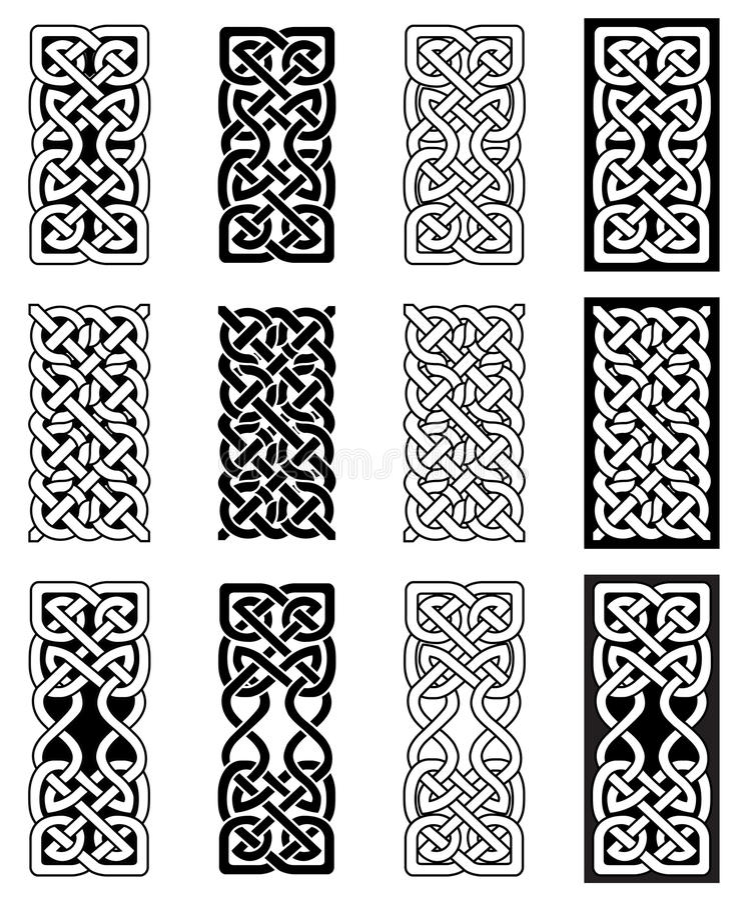 De eindeloze symbolen in Keltische stijl van de knooprechthoek in wit en zwarte geïnspireerd tegen Ierse St Patrick ` s Dag, en I royalty-vrije illustratie