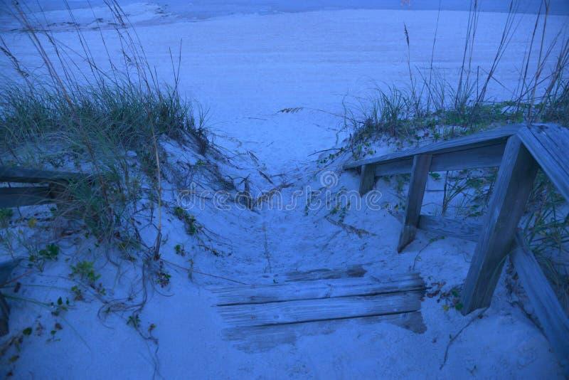 De einden van de strandpromenade bij het zand en de hulp beschermen een breekbaar milieu royalty-vrije stock foto
