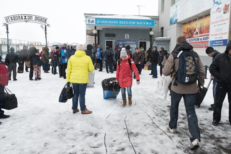 De eindstad van luchthaven Petropavlovsk-Kamchatsky (Yelizovo-luchthaven) Kamchatka, het Verre Oosten stock fotografie