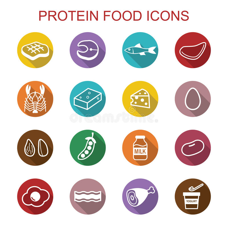 De eiwitpictogrammen van de voedsel lange schaduw stock illustratie