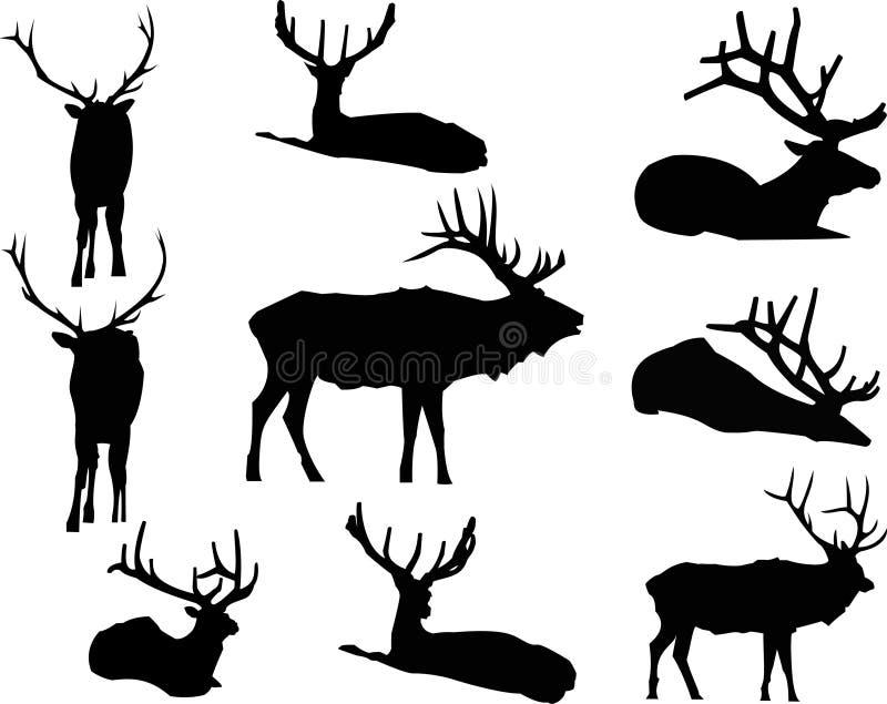 De elanden silhouetteren Dierlijk Klemart. royalty-vrije stock afbeelding