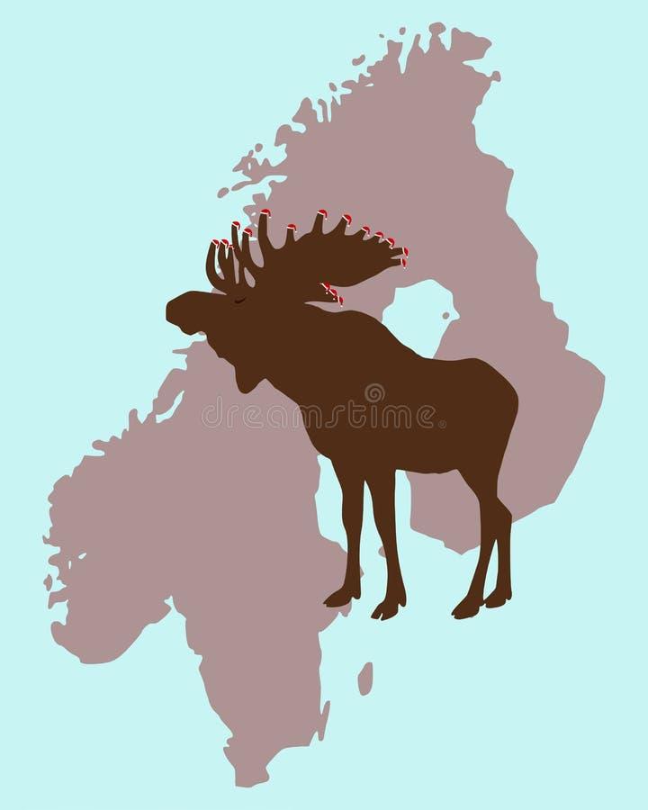 De Elanden van Kerstmis in Scandinavië vector illustratie