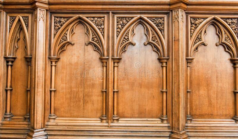 De elegant bewerkte gravure van de kerkmuur royalty-vrije stock fotografie