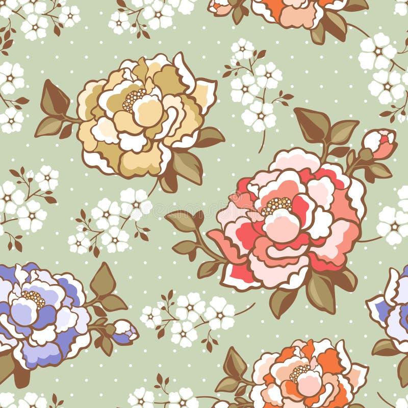 De elegante achtergrond van het pioen naadloze bloemenpatroon royalty-vrije illustratie