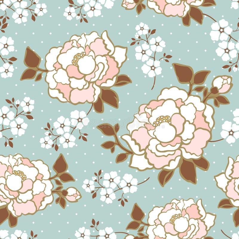 De elegante achtergrond van het pioen naadloze bloemenpatroon vector illustratie