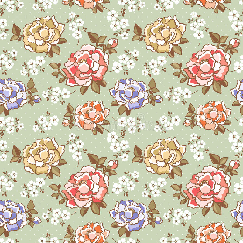 De elegante achtergrond van het pioen naadloze bloemenpatroon stock illustratie
