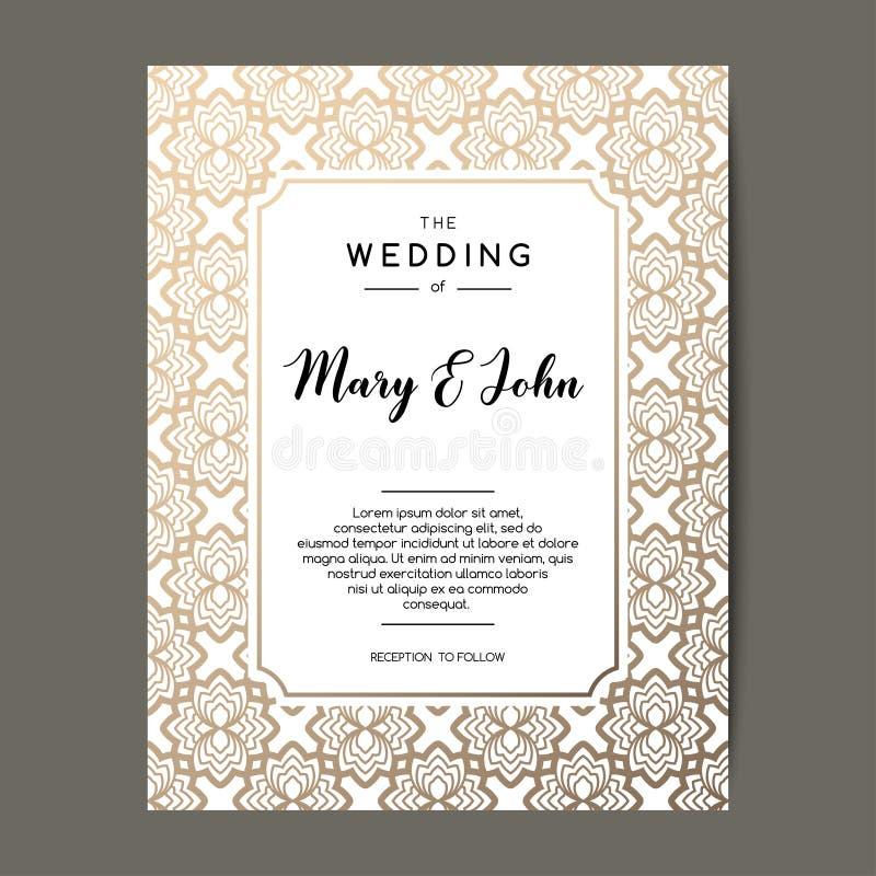 De elegante achtergrond van de huwelijksuitnodiging Kaartontwerp met gouden bloemenornament stock illustratie
