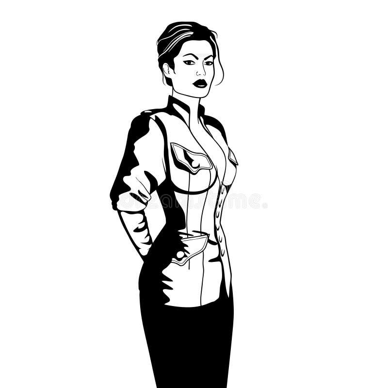 De elegante bedrijfsvrouw in militair stijljasje isoleerde zwart-witte schets vectorillustrtion royalty-vrije illustratie