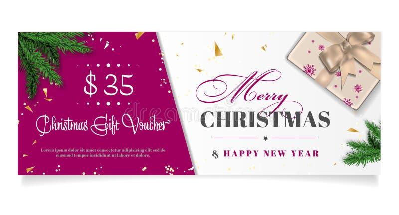 De elegante bon van de Kerstmisgift met plaats voor tekst royalty-vrije illustratie