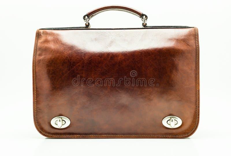 De elegante Bruine Aktentas van het Leer Geïsoleerdi op een witte achtergrond met een het knippen weg stock fotografie