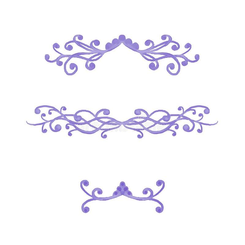 De elegante buitensporige purpere krullen en de wervelingen voor paragraaf of hoofdstukverdelers of de tekst onderstrepen symbole royalty-vrije illustratie