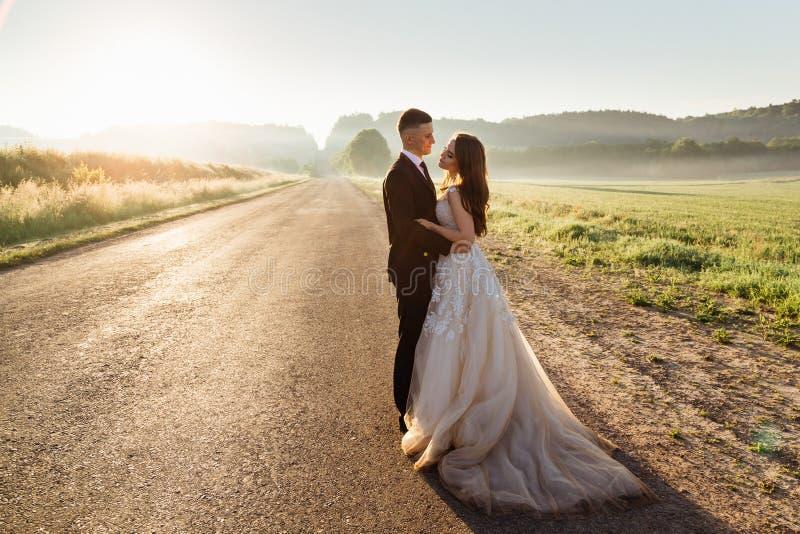 De elegante die tribunes van het huwelijkspaar op de weg worden vermoeid stock fotografie