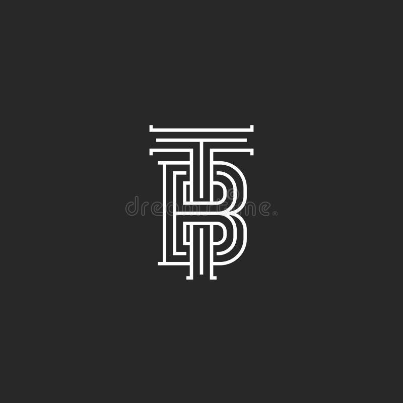 De elegante embleemtb brieven paraferen monogram, combinatie twee brieven T en B-tekens, zwart-wit kalligrafisch lineair BT-emble royalty-vrije illustratie