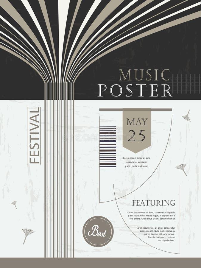De elegante en bevallige affiche van het muziekfestival stock illustratie