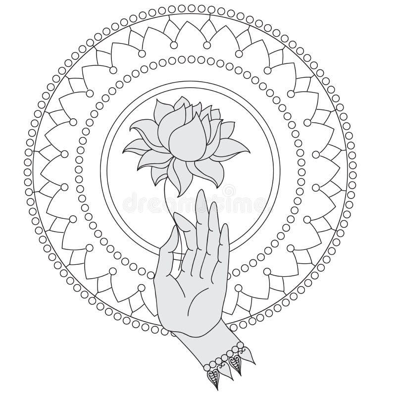 De elegante hand getrokken hand van Boedha met bloem Geïsoleerde pictogrammen van Mudra Prachtig gedetailleerd, rustig Uitstekend stock illustratie