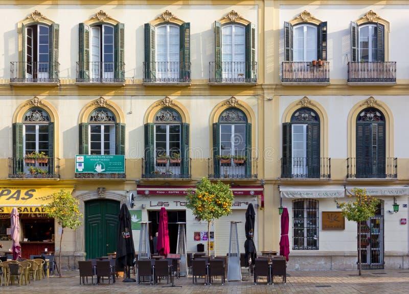 De elegante Historische Bouw in Malaga stock afbeelding