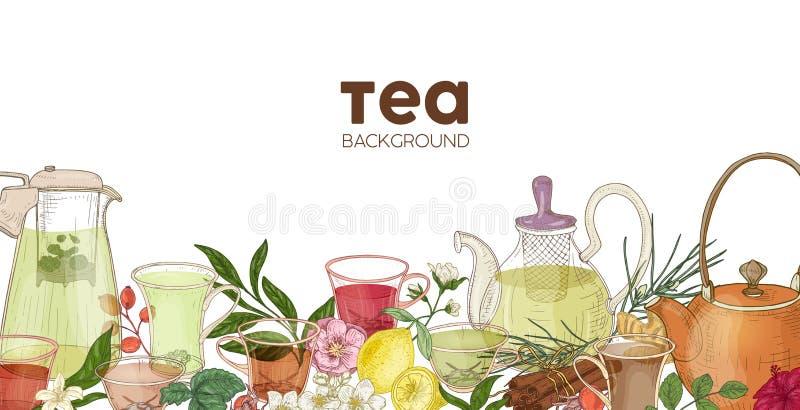 De elegante horizontale achtergrond of de achtergrond met glastheepotten, koppen, heerlijke aromatische thee, bloemen, bessen, ga stock illustratie